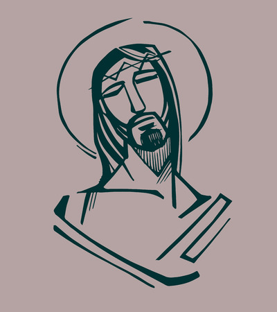 Jesus at the Passion. Hand drawn vector illustration or drawing of Jesus Christ at the Passion