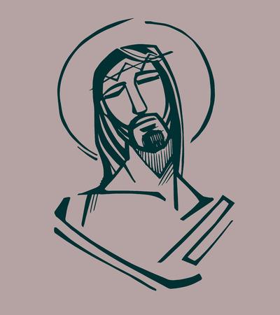 Jezus op de Passie. Hand getrokken vector illustratie of het trekken van Jezus Christus in de Passie