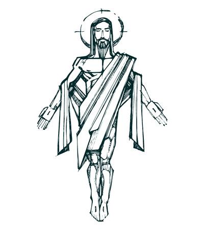 Gesù Cristo Resurrezione b. Illustrazione disegnata a mano di disegno vettoriale o di Gesù Cristo Resurrezione Archivio Fotografico - 36798335