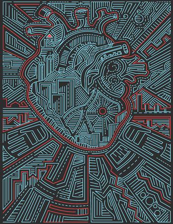 Han getekend vector illustratie of het trekken van een stedelijk hart met verschillende symbolen