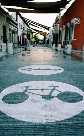 Photograph of a car an bicycle symbols on the street Stock fotó - 38080570