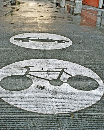 Photograph of a car an bicycle symbols on the street Stock fotó - 38080571