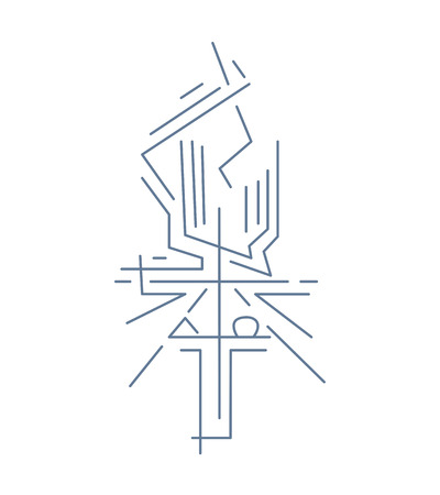 Alpha and Omega CrossVector illustration or drawing of a Cross and religious symbols