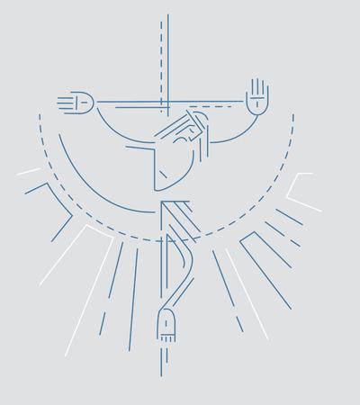 Vector illustratie of tekening van Jezus aan het kruis