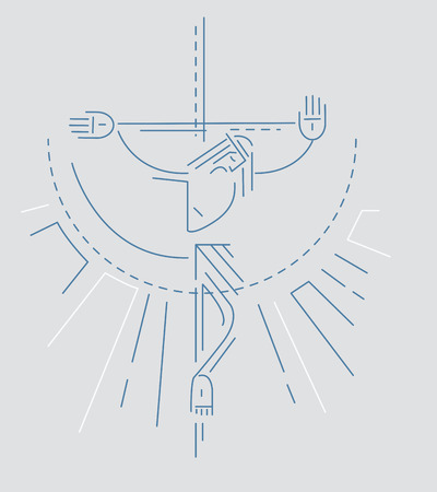 illsutration: Vector illustration or drawing of Jesus at the Cross