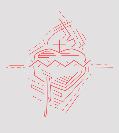 sacred heart: Vector illustration or drawing of Jesus Sacred Heart