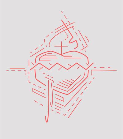 Vektor-Illustration oder eine Zeichnung von Jesus Herz-Jesu- Standard-Bild - 38755224