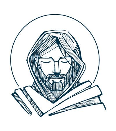 religion catolica: Dibujado a mano ilustraci�n vectorial o el dibujo de la cara de Jesucristo Vectores
