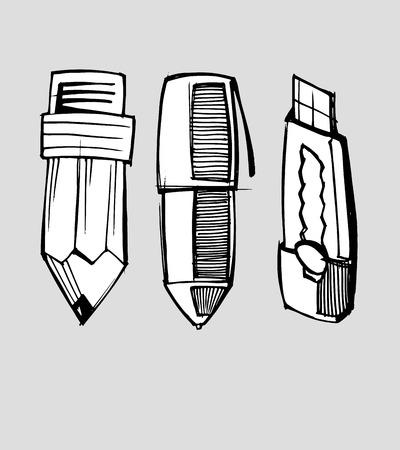 연필 펜 및 커터
