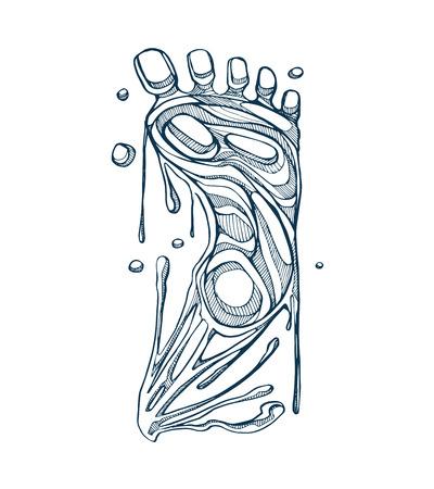 手描き溶解効果と人間の足のイラスト 写真素材 - 38757460