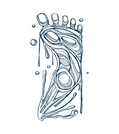 Hand drawn illustration of a human foot with a melting effect Ilustracja