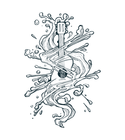 手描きのベクトル図または溶解効果とアコースティック ギターの図面  イラスト・ベクター素材