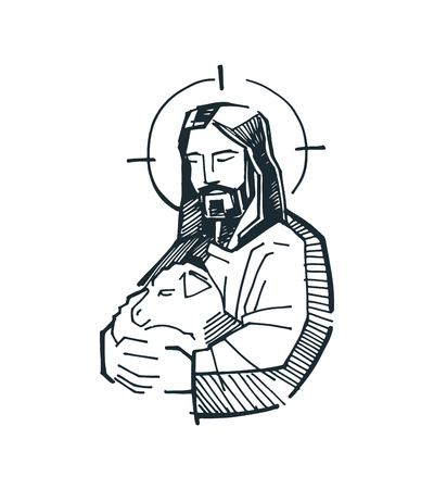Hand drawn vector illustration or drawing of Jesus Good Shepherd Ilustracja