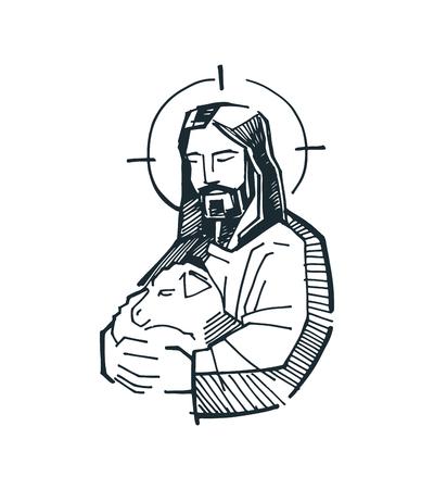 Hand drawn vector illustration or drawing of Jesus Good Shepherd Stock Illustratie