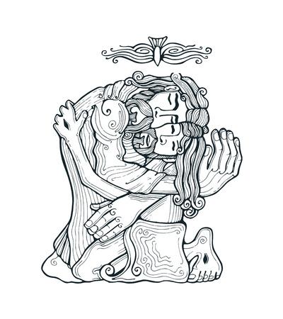 espiritu santo: Dibujado a mano ilustración vectorial o el dibujo de la Santísima Trinidad