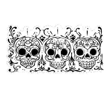 Hand drawn vector illustration or drawing of some skulls with flowers representing dead?s day mexican celebration (d?a de muertos)