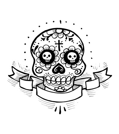 Hand drawn vector illustration or drawing of a skull with flowers representing deads day mexican celebration (dia de muertos)