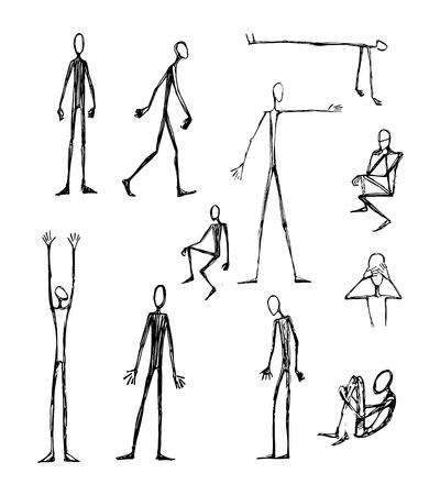 Hand drawn vector illustration or drawing of some men long skinny silhouettes