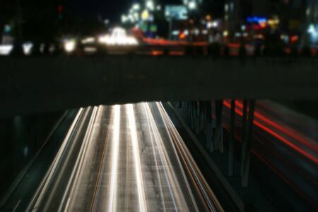 Photograph of some urban lights in a night scene