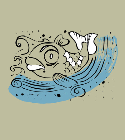 brackish water: Hand drawn vector illustration or drawing of an angry fish