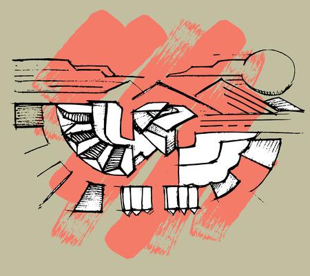 Hand drawn vector illustration or drawing of an indian eagle Ilustração