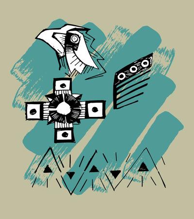 Hand drawn vector illustration or drawing of some indian symbols Ilustração