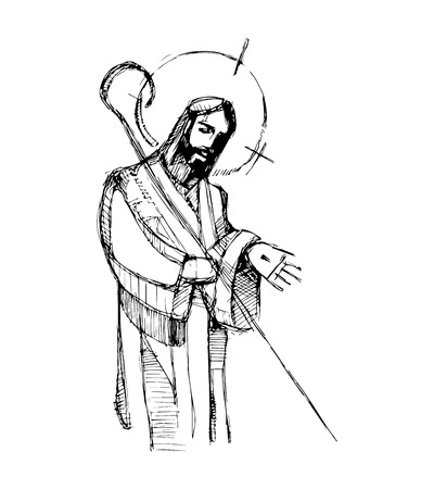 Hand drawn vector illustration or drawing of Jesus Christ Good Shepherd
