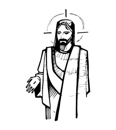 Hand getrokken vector illustratie of tekening van Jezus Christus in Zijn opstanding