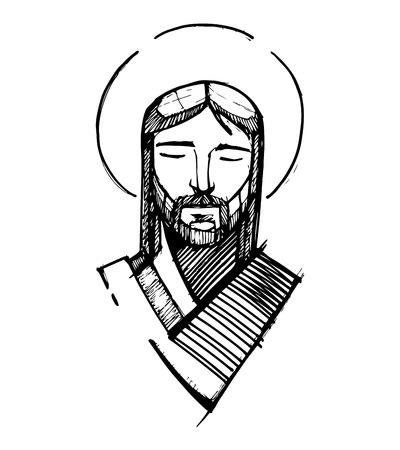 Hand getrokken vector illustratie of het trekken van Jezus Christus gezicht Stock Illustratie
