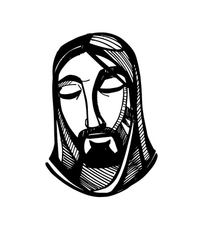 jesus face: Hand drawn vector illustration or drawing of Jesus Christ face