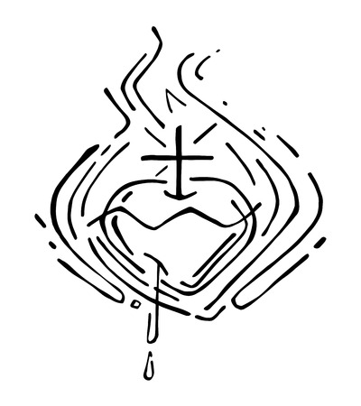 dai: Hand drawn vector illustration or drawing of Jesus Christ Sacred Heart