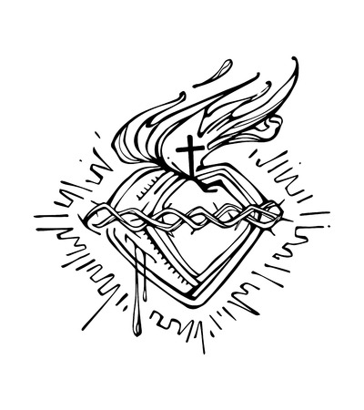Hand drawn vector illustration or drawing of Jesus Christ Sacred Heart