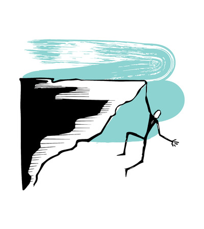 Hand drawn vector illustration or drawing of a hanging man on a cliff