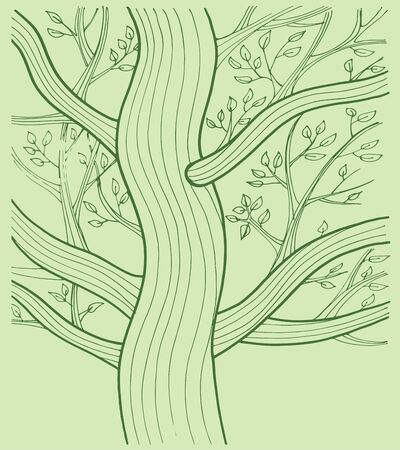 Hand drawn vector illustration or drawing of tree with branches and leafs Ilustração