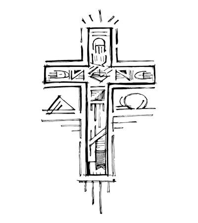 Hand getrokken vector illustratie of het trekken van een religieus kruis met verschillende symbolen Stock Illustratie
