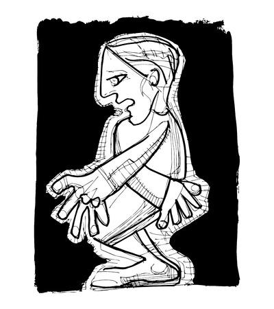 ashamed: Dibujado a mano ilustración vectorial o el dibujo de un hombre cubista vergüenza
