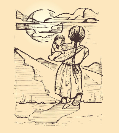 Hand drawn vector illustration or drawing of two indigenous children in a natural landscape