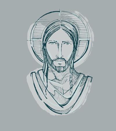 예수 그리스도 고요한 얼굴을 손으로 그린 벡터 일러스트 레이 션 또는 도면