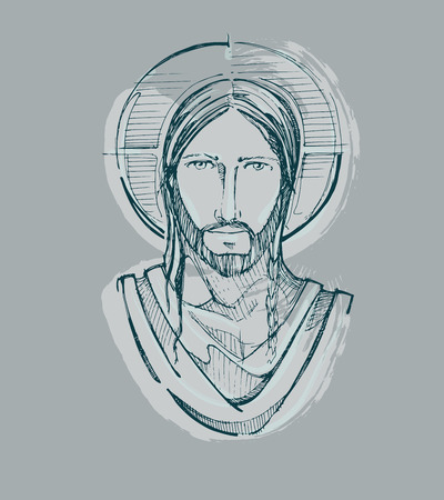 head in hands: Hand drawn vector illustration or drawing of Jesus Christ Serene face