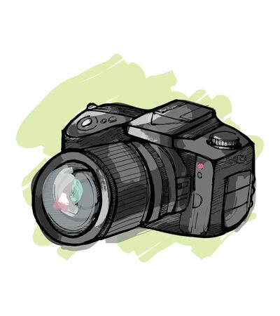 Hand drawn vector illustration or drawing of a reflex camera