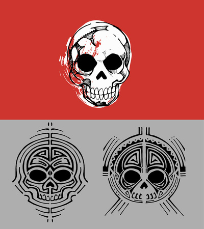 line drawings: Hand drawn vector illustration or drawing of different human skulls