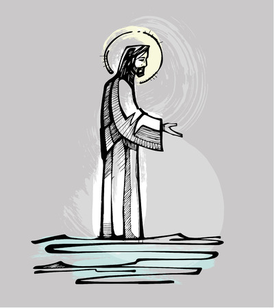 Hand drawn vector illustration or drawing of Jesus Christ walking on the water offering an open hand