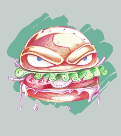 vectro: Hand drawn vector illustration or drawing of an angry cartoon burger