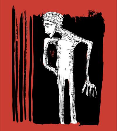 Illustration dessiné à la main ou dessin d'un homme fatigué et fatigué Banque d'images - 40106193