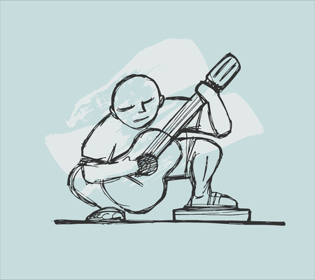 Hand drawn vector illustration or drawing of a guitar player