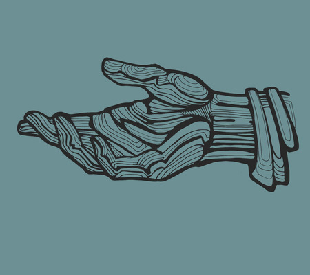 inka: Hand drawn vector illustration or drawing of an open human hand