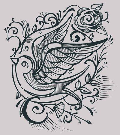 Hand getrokken vector illustratie of het trekken van een zwaluw vogel en wat bloemen Stock Illustratie