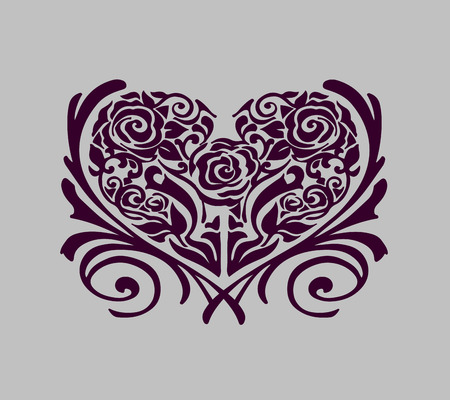 Hand drawn vector illustration or drawing of some flowers forming the shape of a heart
