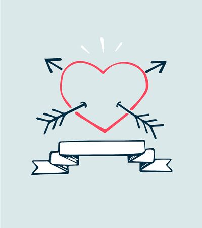 Hand drawn vector illustration or drawing of a heart with two arrows and ribbon Ilustração