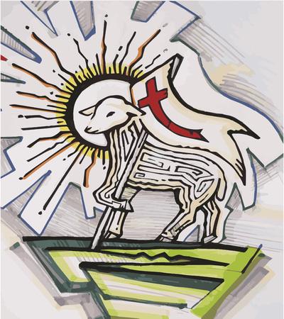 Hand getrokken vector illustratie of tekening van lam met een vlag en een overwinningskruis Vertegenwoordigen Jezus Christus het Lam Gods Stockfoto - 40392009